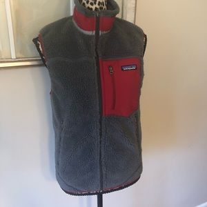 Men Patagonia Retro X Fleece Vest XS Gray Red